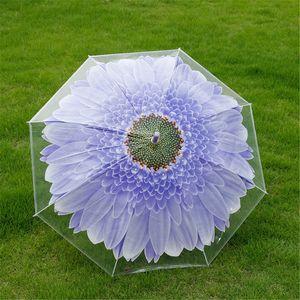 Uzun sap Küçük taze haldeyken ile Çocuk şemsiye Hem yağmur ve güneş şeffaf şemsiye sopa şemsiye 30pcs T1I1919 Güneşlik
