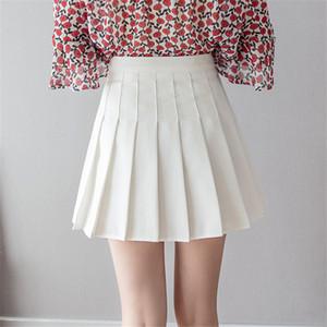 Женщины высокая талия плиссированная юбка сладкие милые девушки танцуют мини юбка косплей черный белый юбка Каваи женские мини юбки короткие