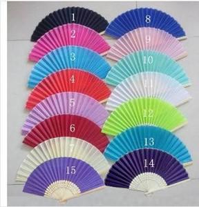 Nueva 100Piece / favores de la boda de novia de seda Lote plegable del ventilador personalizado para huéspedes ventilador de la mano de 18 colores Shiping