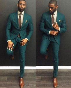 2019 Green Men Wedding Tuxedos Peak Lapel Groom Tuxedos Best Men Business Dinner Party Suit Wear (Jacket + Pants)