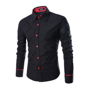 Designer Plaid Mens Business Shirt Mens manica lunga con pannelli vestiti Moda Stili Single Breasted Homme Top