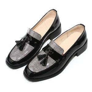 Custom Flats Women's Shoes College Style Square Head Patent Leather Loafers Women Low Heel Woman Casual Flat Shoe Free Shipping
