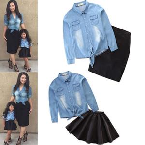 Mama und ich Kleidung Jeans Bluse + fester Rock Mutter Familie Shirt passende Outfits Mutter und Tochter Kleid Familie Look Mutter Tochter Y190523