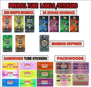 borse PACKWOODS DANKWOODS Moonrock pre-roll Hot Cherry gummie AK-47 viola pugno Label Stickers comune Tubi Packaging