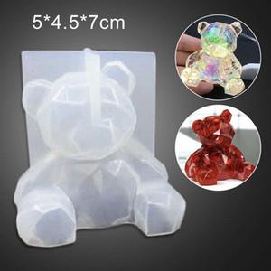 Molde del silicón de DIY cristal epoxi tridimensional geométrica oso formaron el molde de yeso aromaterapia herramienta de la decoración de la torta
