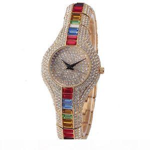New Rainbow Full Diamond Watch Women Waterproof Calendar Platinum Luxurious Watch Hip Hop Iced Out Wrist Watch