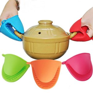Hot Cozinha Dishes Silicone Gloves Oven Heat Insulated Finger Gloves Cooking Microwave Non-slip Gripper Pot Holder