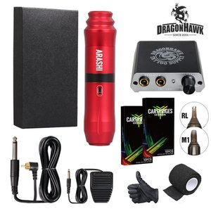 Dragonhawk ARASHI Rotary Tattoo Kit Híbrido Tattoo Pen Machine Mini Fuente de alimentación Agujas desechables Tattoo Supply