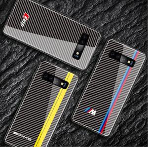 para Samsung Galaxy S8 S9 S10 además la nota 8 9 carbono caso insignia del coche de fibra Teléfono de lujo de BMW Audi RS sline AMG