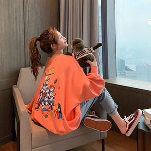 New Design Autumn Spring Women Orange Plus Size Cartoon letter Print hoddies loose Clothes Casual Woman Couple Hoody
