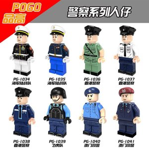 wholesale Military Special Duties Unit Marine Corps Policeman White Blue Coat Super Heroes Model Children Gift Toys PG8062 zdl0707.