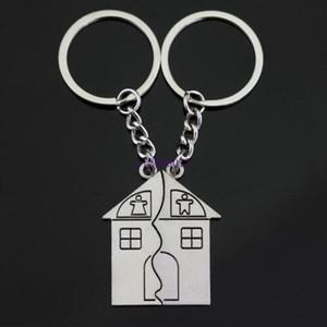 Metal çinko alaşım ev şekli çift anahtarlık setleri düğün parti sevgilisi konuk için hediye hediyeler yanadır