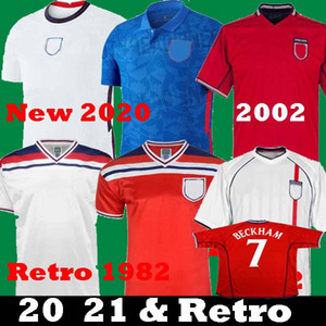 Nouveau 2020 2021 maillots de football de l'Angleterre 20 21 sterling kane Gerrard Retro BECKHAM 1982 Heskey ROONEY 2002 Retro Lampard de football shirts d'enfants