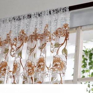 Voile Perde Pencere Perde Çiçek Baskı Bölücü Tül Voile Dökümlülük Paneli Şeffaf Eşarp Valances Perdeler Salon Yatak Odası Dekor