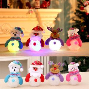 Decorazioni natalizie Incandescente EVA Little Snowman Xmas Moose Night Lights Brillante pupazzo di neve Ornamenti per ciondolo albero di Natale