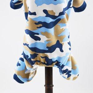 Brasão Pet Dog Camo Roupa Vestuário filhote de cachorro Hoodies Stylish Blue Pink Dog Camouflage Shirts Macacão Pijamas de pequeno cães e gatos