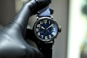 Роскошные мужские пилотные хронографы серии 45 мм цифровая шкала бронзовый корпус VK Кварцевый хронограф механизм Кожаный ремешок Сапфир Мужские спортивные часы