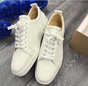 La fábrica Wholesale graneado de cuero clásico de las zapatillas de deporte de cuero plano Rantulow rojas de fondo zapatos para hombre Lowcut junior calza el envío libre de la planta del pie