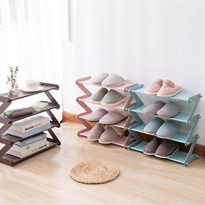 Multipurpose quatro camadas sapateira simples de aço inoxidável montado em plástico oxford pano sapato titular dormitório de três camadas sapato rack de armazenamento