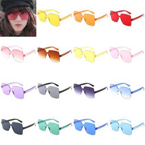 Fashion Square-förmige Klar Süßigkeit farbige Einteilige Sonnenbrille Farbton-Gläser Gradient Transparent Frameless Brillen Frauen Zubehör Geschenke