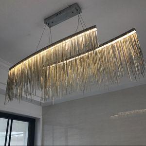 Итальянский дизайн Серебряная люстра инженерного дизайна роскошная цепная кисточка алюминиевая цепь привела красивое освещение люстры