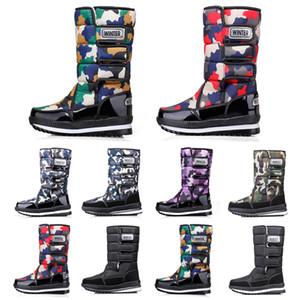 Роскошные дизайнерские женщины мужчину сапоги над коленом бедра высоких мужских снежными зимними ботинки водонепроницаемых пинетки платформы стиль 36-45 перевозки груза падения 16