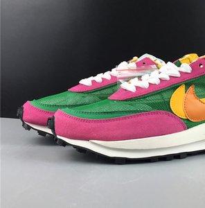 Sacai LDV Waffle Daybreak Çam Yeşil Turuncu BV0073-301 Kadın Erkek Basketbol Spor Ayakkabı Sneakers İyi Kalite Eğitmenler ile Orjinal Kutusu x