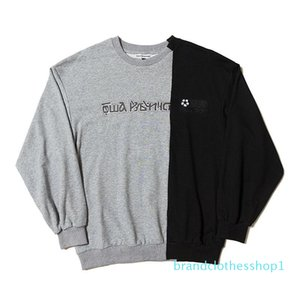 Fashion-Designer Sweatshirt Hip Hop Fashion Panalled Long Sleeve Pullovers 3 Colors Russian Letters Printing Ribbed Crew Neck Sweatshirt