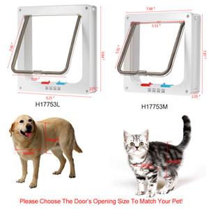 4-Yönlü Kilitleme Pet Kapı W / Akıllı anahtarları / çıkış serbest gitmek Yavru Köpek Kilit Kilitlenebilir Güvenli Flap Gates'i Malzemeleri ev kapı Cat tutmak
