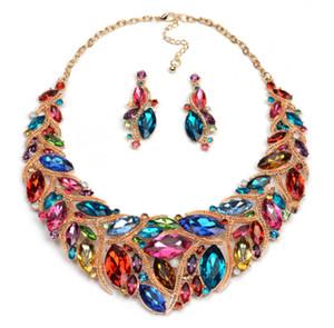 blingbling bijoux de fête luxe grand bijou colliers exagérés mode bref paragraphe boucles d'oreilles costume couleur ensembles de bijoux en gros