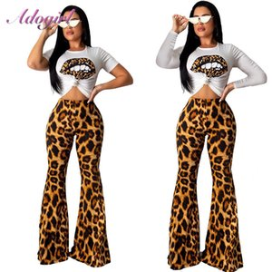 Adogirl Leopard Print Two Piece Set Women Casual Short Sleeve T-Shirt Crop Top + High Waist Flare Pants Suit Outfit Tracksuit Y200701