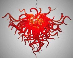 Высокие потолки Декоративные Висячие выдувное стекло люстры Современные Art Design Long Chain Murano Red Glass Люстра