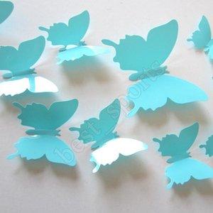 12pcs lot PVC DIY Wall Sticker New 3D Mirror Butterfly Sticker for Wall Window Party Supplies ZZA1383
