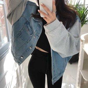 Colorfaith New 2020 Automne Hiver Femmes Denim Jackets Patchwork turn-down collier d'extérieur High Street Jeans mode JK8910