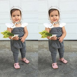 2019 Лето Осень новорожденный девочка одежда британский полосатый комбинезон Комбинезон серый в загородном стиле петель рукавов наряды оголовье 2шт