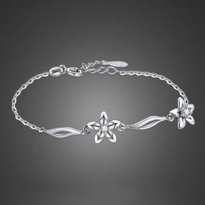 Noble girl silver jewelry 925 pulsera de plata esterlina circón flor colgante pulsera de plata maciza girl chic accesorios bijoux