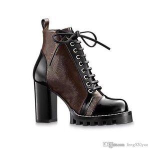 Yüksek topuklu Martin çizmeler Kış Kaba topuk kadın ayakkabı lüks tasarımcı Desert Boots% 100 gerçek deri Yüksek topuk çizmeler Büyük boy US1135-42