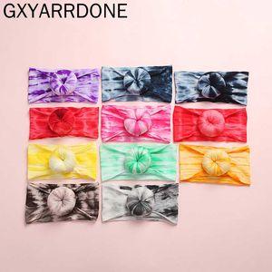20pc / lot 2020 New Tie Dye Prints Rodada Knot Nylon bebê headwraps Tie Dye Rainbow Color Meninas Donuts Turban Bun Headband Headwear