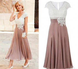 Mother of the Bride Dress Deep V Neck Chiffon Ankle Length Wedding Guest Dress Short Sleeves Top Lace Groom Party Gowns