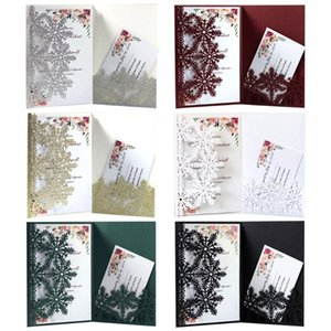 20pcs set Snowflake Invitations Greeting Card Delicate Carved Holiday Merry Christmas Party Supplies