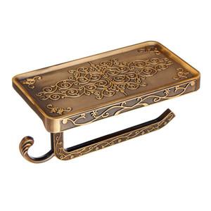 Titulaire de téléphone portable de papier de salle de bains en alliage de zinc sculpté antique avec étagère de salle de bains porte-serviettes de porte-papier toilette