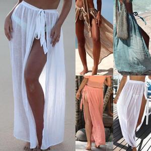 Mujeres cubierta de la luz hasta la gasa de ropa de playa de la cintura del lazo del traje de baño caliente del verano Wrap Faldas