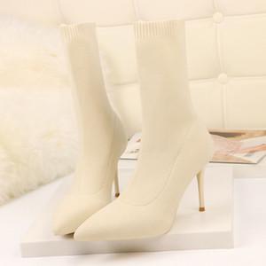 SEGGNICE Sexy Socke Stiefel Stricken Stretch Stiefel High Heels für Frauen Mode Schuhe 2019 Frühling und Herbst Knöchel