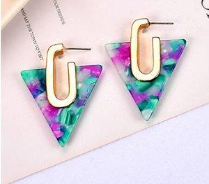 2019 Semplice geometrica acetato orecchini per le donne Boemia colorato triangolo acetico orecchini Acid dono gioielli di moda ragazza GB1304