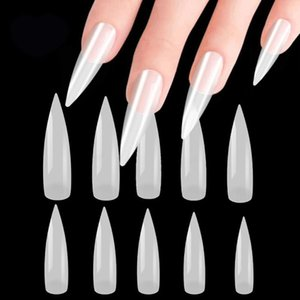 100 / 500Pc / Pack Clear / White / Natural Ultra-Thin False Tips acrylic French Stileto Full Cover Manicure DIY Nail Art Tools New
