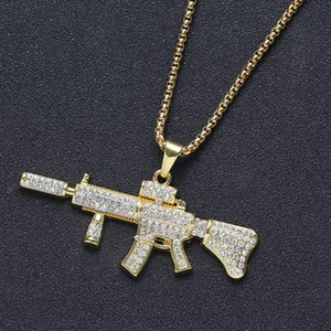 Gold Tone Crystal Rhinestone Gun Shape Pendant Necklace Creative Hiphops Punk Style AK47 Necklace For Men