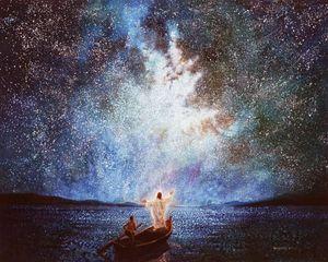Yongsung Ким СПОКОЙСТВИЕ И ЗВЕЗДЫ Иисус на лодке в ночное время Home Decor / HD ремесла печати живопись маслом на холсте Wall Art Pictures 200110
