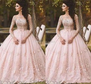 Rosa manga larga vestidos de fiesta bola vestido de encaje apliqueado bow sheer cuello 2019 vintage dulce 16 niñas debutantes quinceañera vestido vestido de noche