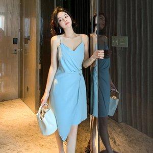 2020 summer new celebrity temperament V-neck skirt slim solid color irregular suspender dress woman 1891