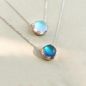 Argent 925 Aurora Colliers Halo cristal pierre Moon Light Forêt Femmes Collier Fashion Pendentif élégant Bijoux Déclaration Gril